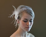 Cage-Cap Flapper Style Birdcage Veil with Satin Flower