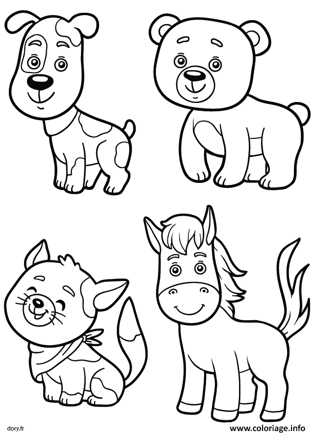 Coloriage Chien Ours Cheval Chat Animaux Jecoloriecom