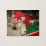 Cute akita dog santa hat cone decoration christmas puzzle