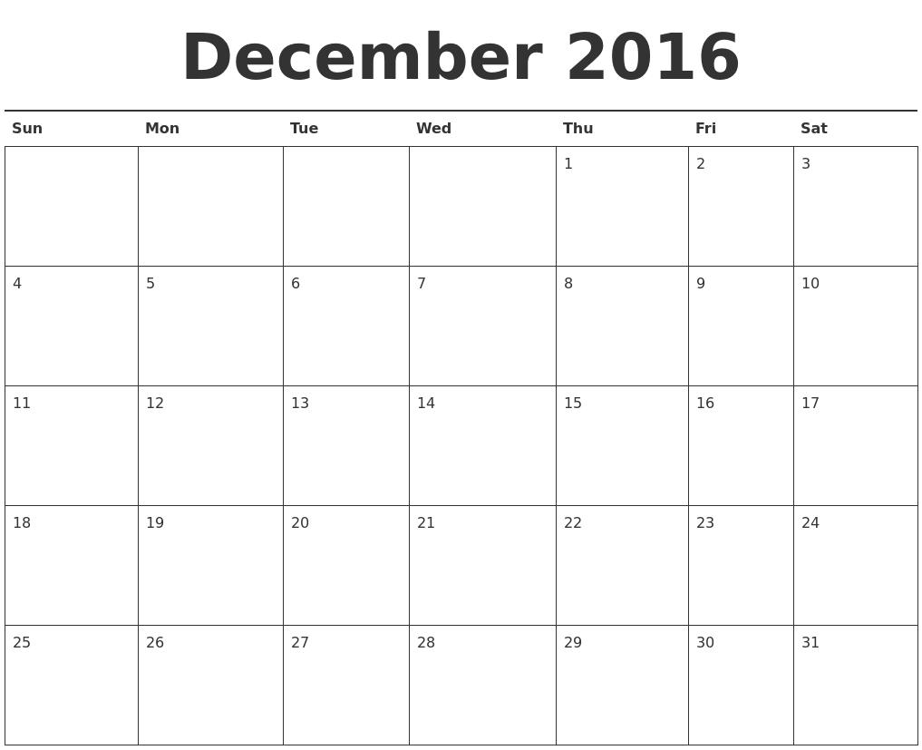 december 2016 calendar printable
