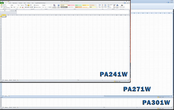 PA301W, PA271W and PA241W Excel Overlays