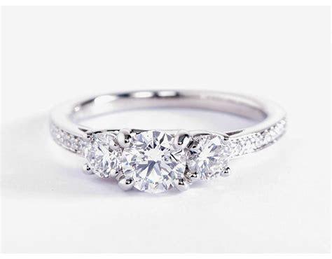 Three Stone Pavé Diamond Engagement Ring in Platinum (2/3