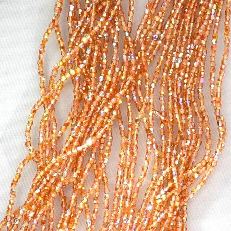 s44692 Firepolish - True 2 mm Faceted Round - Crystal Orange Rainbow (strand 150)