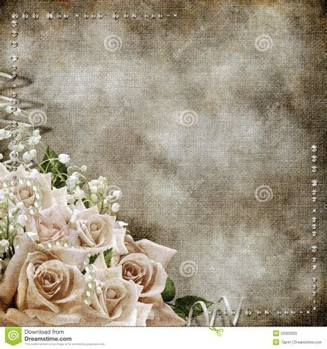 Wedding Vintage Romantic Background With Roses Stock