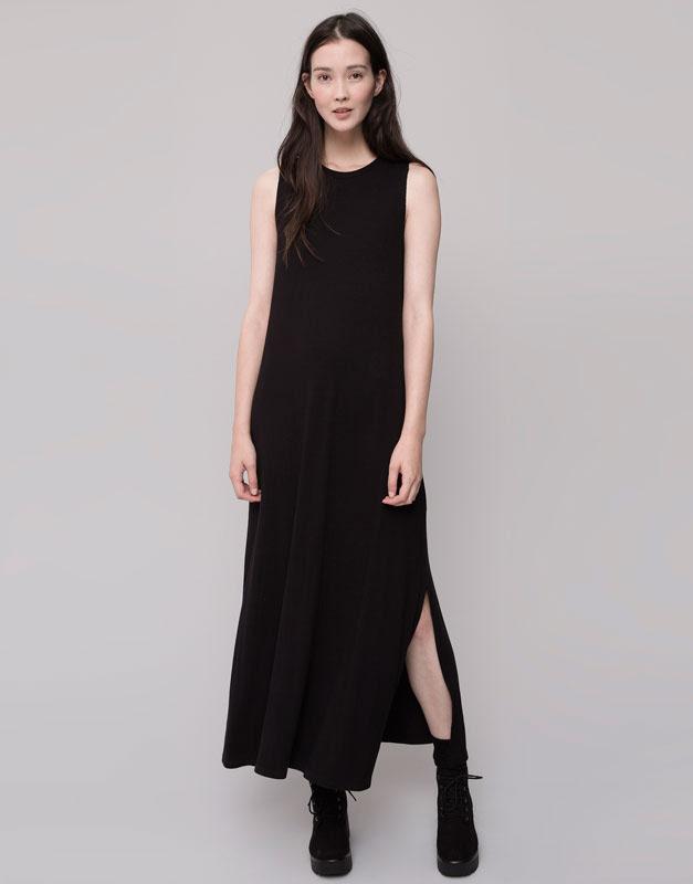 Pull&Bear - mujer - vestidos - vestido largo manga sisa - negro - 09390327-V2016