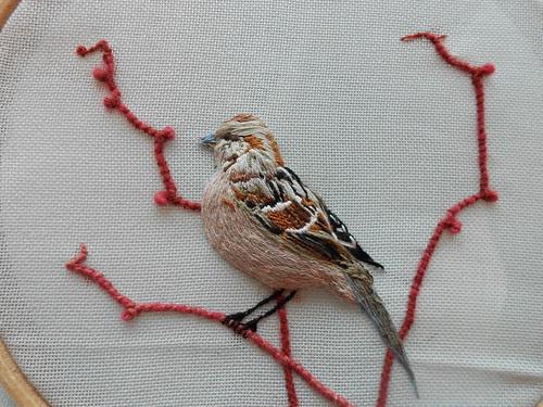 stumpwork sparrow by Sewphie T
