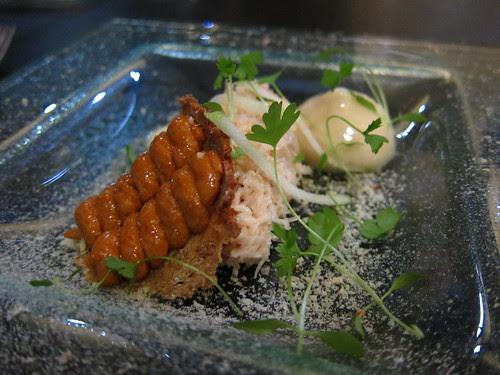 Course 3 - Devonshire crab – apple & celeriac purée – smoked paprika honeycomb