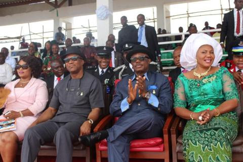 Princess Chinwe Nwaebili, Speaker, Anambra State House of Assembly, Dr. Nkem Okeke, Deputy Governor, Chief Willie Obiano, Governor of Anambra State and his wife, Chief Mrs Ebelechukwu Obiano during the activities marking the 54th Independence Anniversary in Awka...Wednesday
