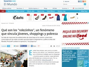 Matéria do argentino 'La Nación' sobre os 'rolezinhos' (Foto: Reprodução/La Nación)