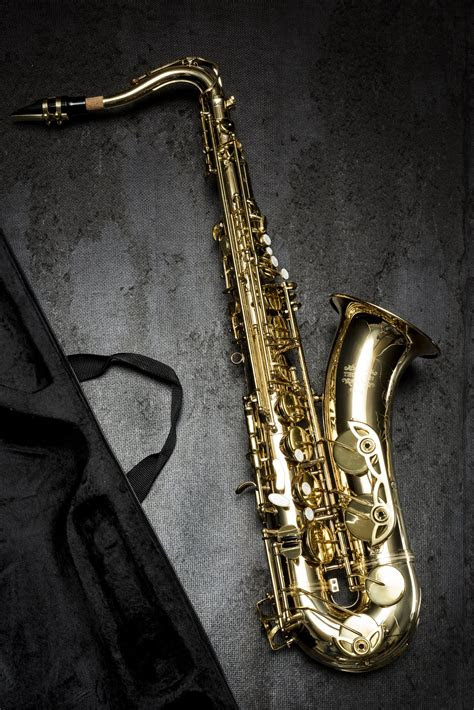 person holding saxophone  gray scale photography