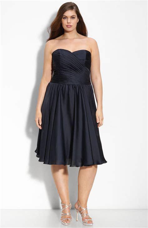 Chic deep navy blue plus size bridesmaid dress by Monique