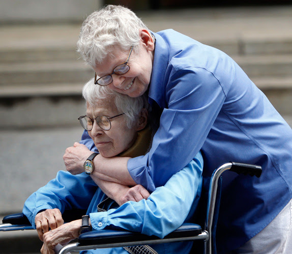 pantslessprogressive:  Phyllis Siegel and Connie Kopelov celebrate after being the first New York City same-sex couple to marry at Manhattan's City Clerk's Office on Sunday, July 24, 2011. [Photo: Jason DeCrow/AP]