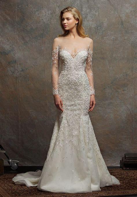 Illusion Sweetheart Long Sleeve Beaded Wedding Dress