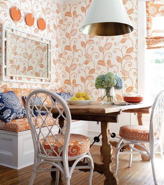 orange-classic-wallpaper-dining-room-design