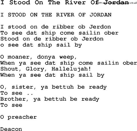 Lyrics To I Stood On The Banks Of Jordan