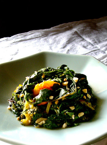 swiss chard with coriander and peanuts