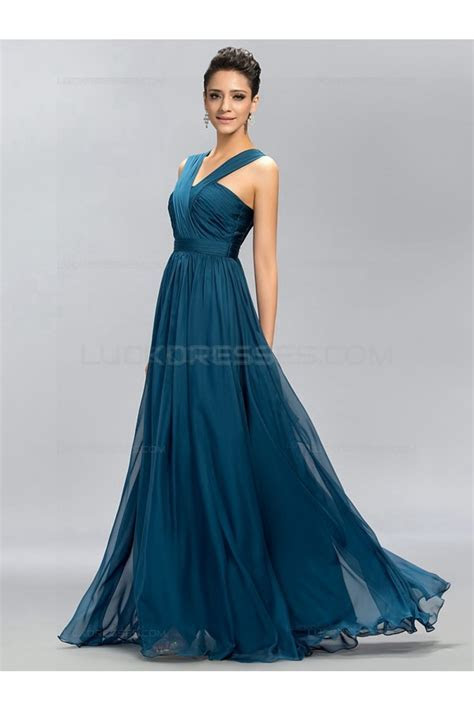 A Line Long Chiffon Wedding Guest Dresses Bridesmaid