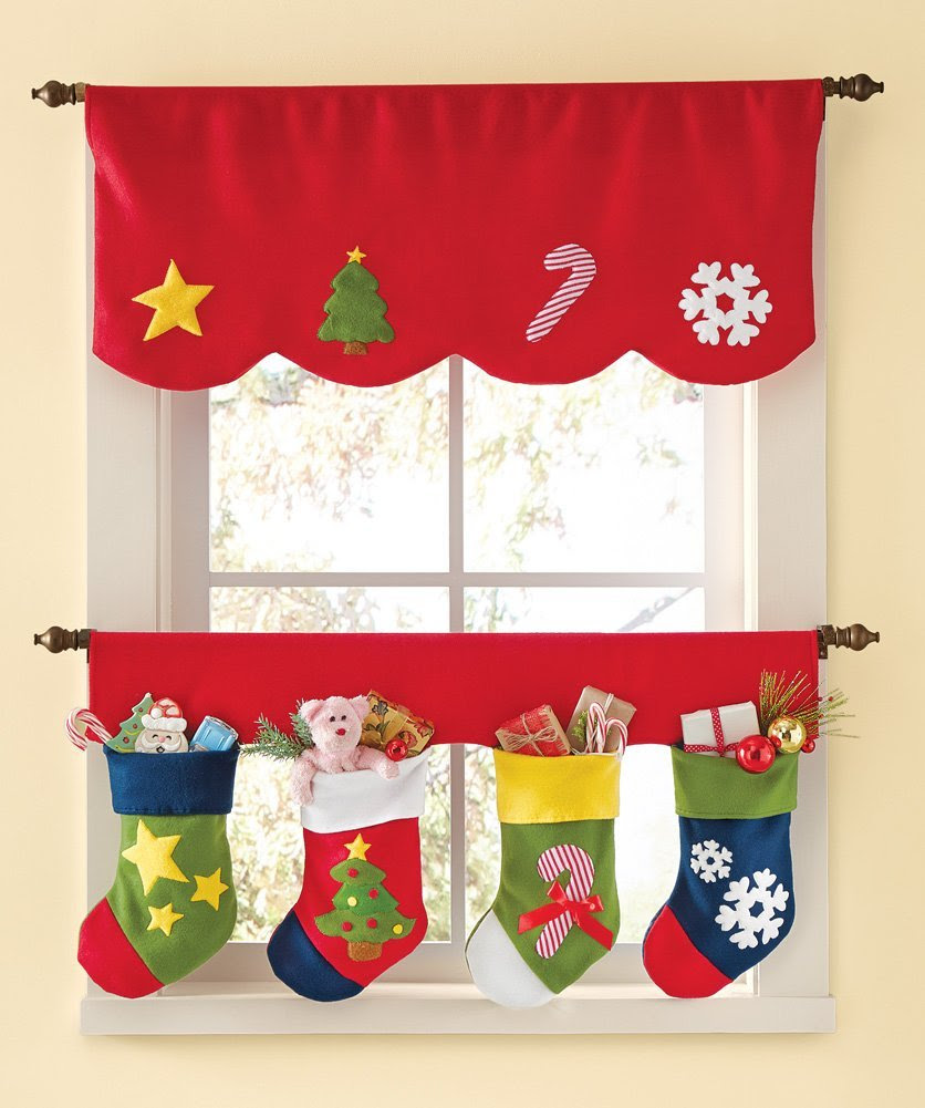 Red Christmas Stocking Window Curtains
