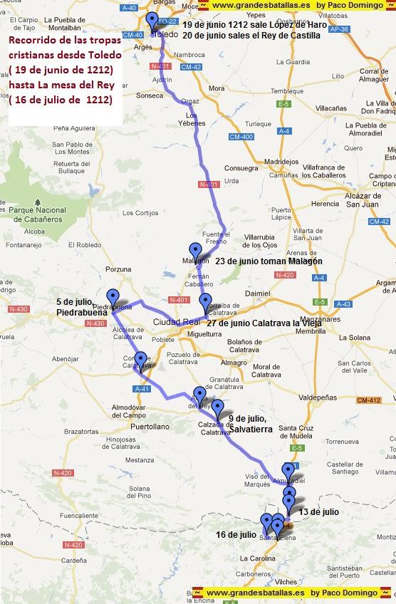 Recorrido de las tropas cristianas en las navas de tolosa, desde Toledo hasta la Mesa del Rey