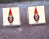 Glass Tile Post Earrings-Garden Gnome Nature Fantasy - goddessglass10359