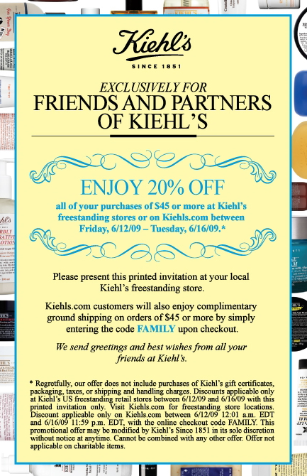 20% off at Kiehl's - Kiehl's Friends and Family Sale