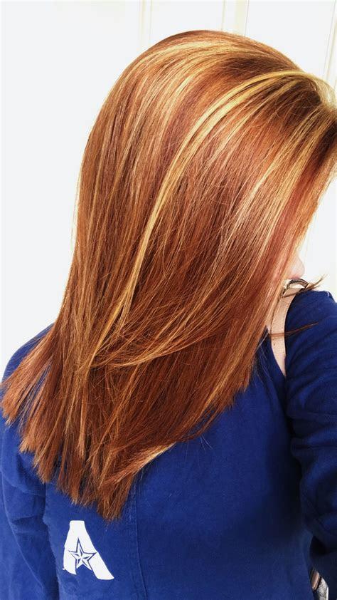 natural red hair  auburn lowlights blonde highlights