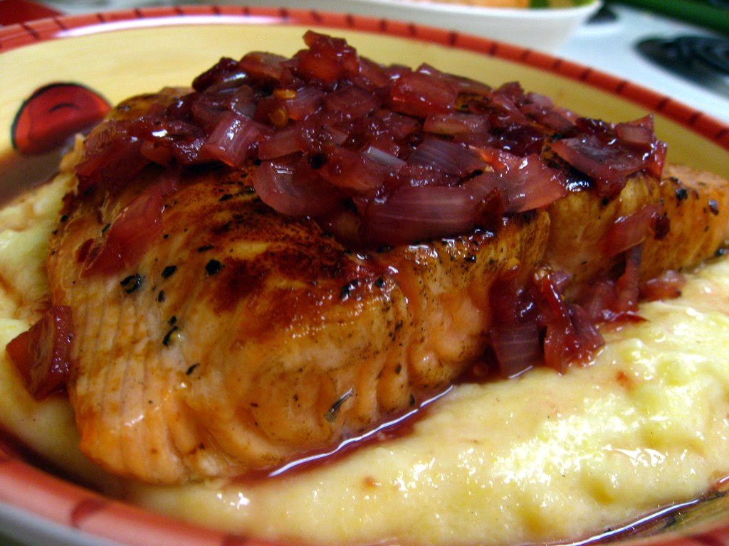 Cherry Salmon over Polenta