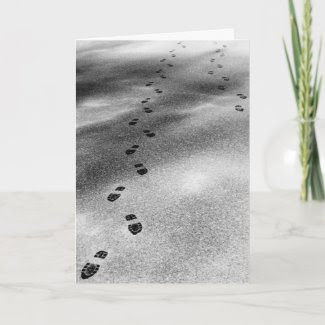 Footprints in Snow zazzle_card