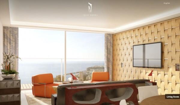 Monaco Penthouse- retro inspred sitting area with ocean views