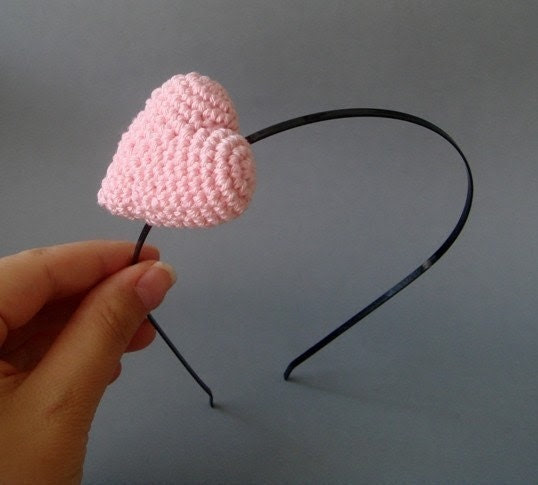 Headband with Light pink crocheted heart