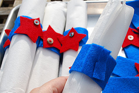Merriment :: Fourth of July felt and button star napkin rings by Kathy Beymer