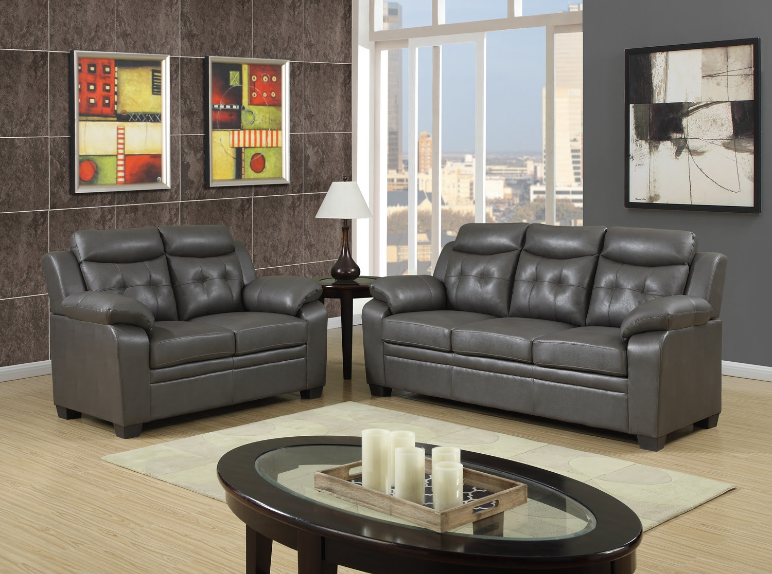 Grey Apartment Size Casual Contemporary Bonded Leather ...
