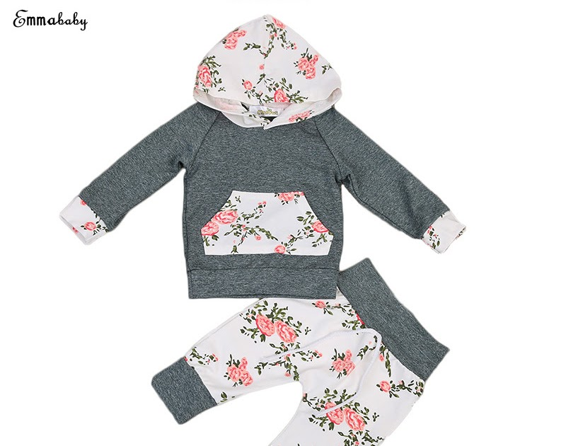 6467bfc9aaa2 Buy 2PCS Set Newborn Baby Boy Girl Clothes Infant Bebes Long Sleeve Hooded  Sweatshirt Tops Floral Pant Trouser Kids Clothing Set Cheap Online - buyhsn