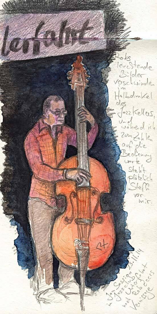 Jam Session im Jazzclub Unterfahrt, Zeichnung Patricia Rex