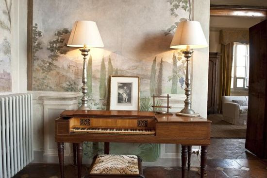 Fabric on bench.    Habitually Chic - Villa Cetinale is a 17th century villa in the Ancaiano district near Siena, Italy.