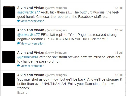 Alvin Dan Vivian Mohon Maaf, Tapi Maki Umat Islam Di Twitter Selepas Fanpage FB Dipadam - Terbakor
