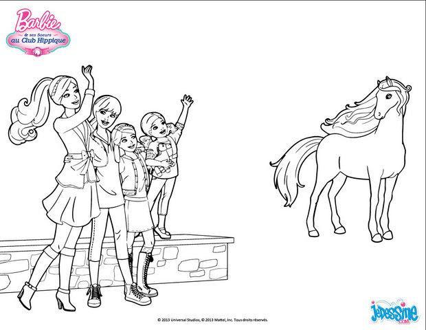 Coloriages Barbie Et Ses Soeurs Saluent Leur Cheval Frhellokidscom