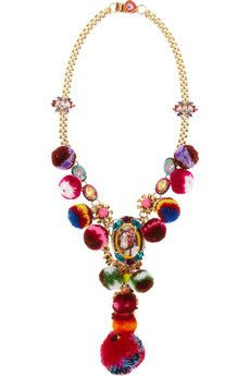 MARIO TESTINO FOR MATE by VICKISARGE gold-plated, Swarovski crystal and pompom necklace | NET-A-PORTER