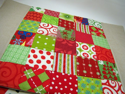 Patchwork and linen placemats