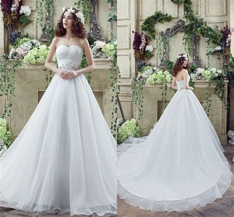 Cheap White /Ivory Wedding Dresses Ball Gown Organza