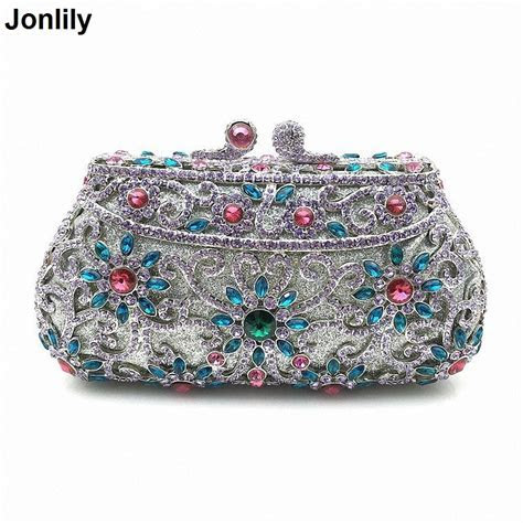 2018 Hollow Out Chain Clutch Purse Silver Crystal Evening