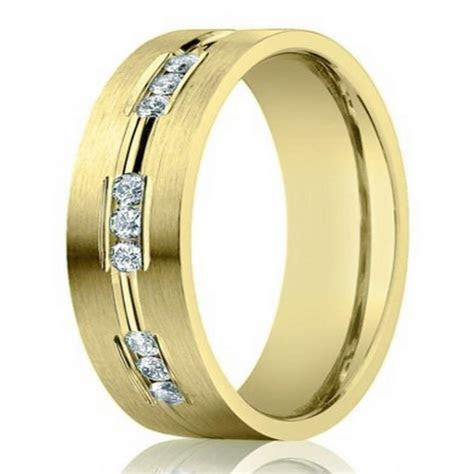6mm Designer 14k Yellow Gold Wedding Ring for Men with