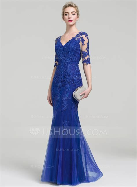 Trumpet/Mermaid V neck Floor Length Tulle Lace Evening