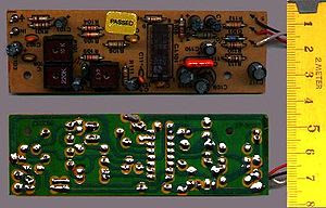 Single sided printed circuit board (PCB), show...