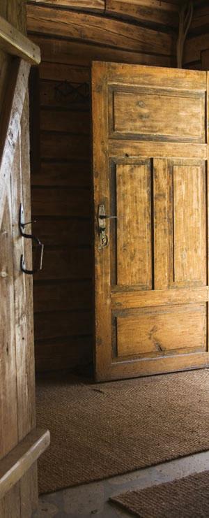 open wood door