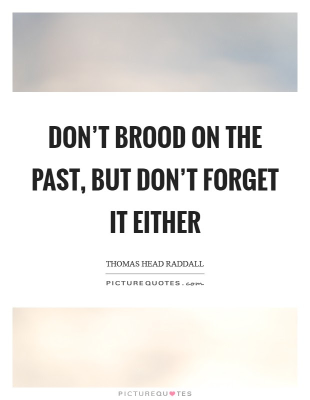 Dont Brood On The Past But Dont Forget It Either Picture Quotes