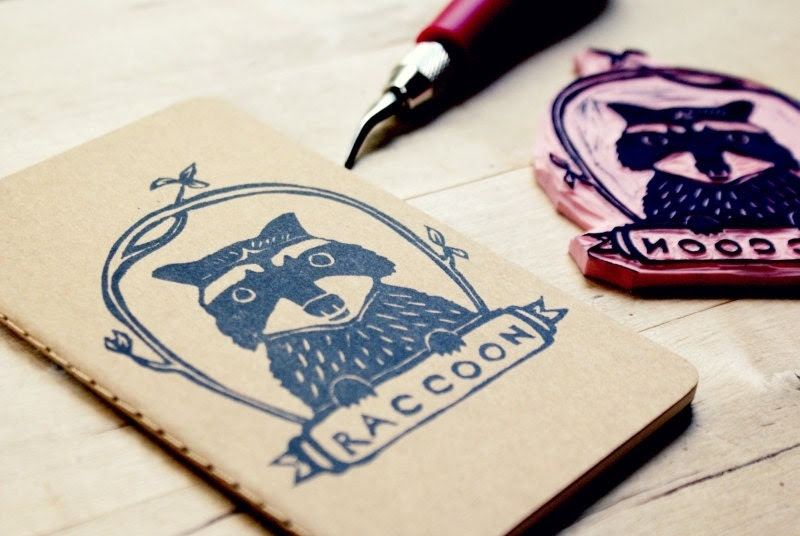 Raccoon Woodland Animal Lined Notebook Moleskine Journal Hand Carved Stamp Stocking Stuffer
