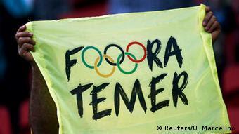 Fora Temer: Protesto contra o então presidente interino durante os Jogos Olímpicos do Rio