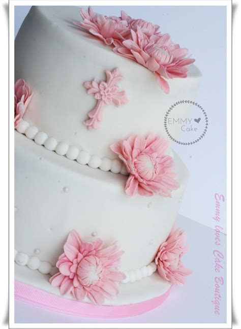 First Communion Cake A Lovely Little Girl Pink And White