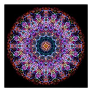 Purple Lotus kaleidoscope Print